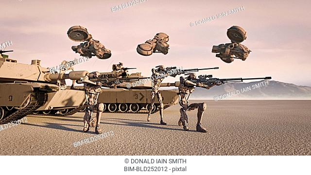 Futuristic soldiers and tanks in desert
