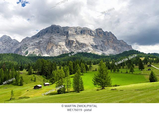 Mountain range Kreuzkofel - Sasso santa Croce in the nature park Fanes Sennes Prags and UNESCO world heritage. Europe, Central Europe, Italy