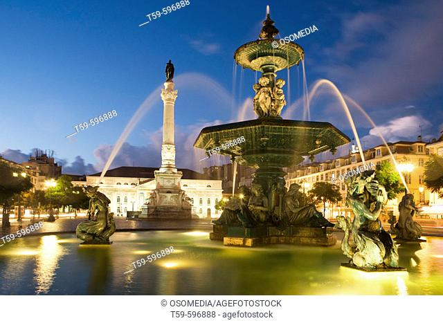 Fountain in fronf of D. Maria II National Theatre at Rossio Square, Lisbon. Portugal