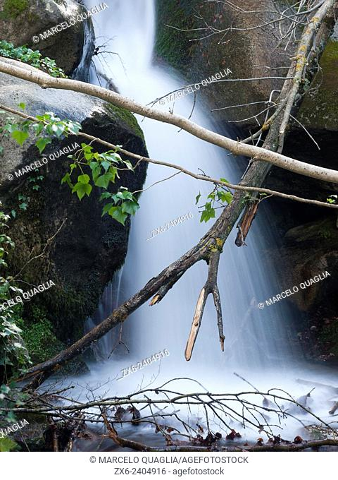 Small waterfall at Les Truites stream. Arbucies village countryside. Montseny Natural Park. Barcelona province, Catalonia, Spain