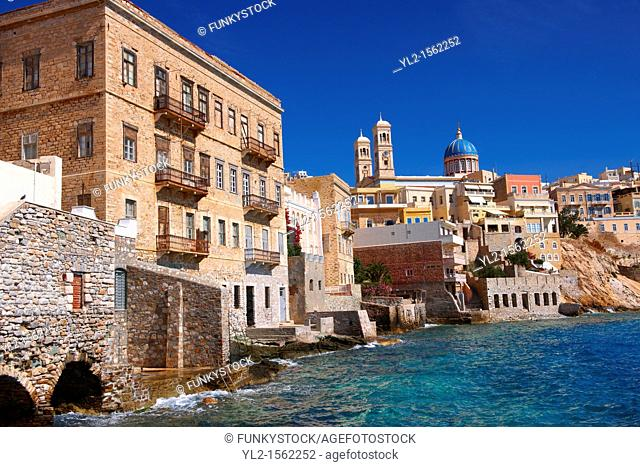 Bay and buildings of Ermoupolis, Syros  S  , Greek Cyclades Islands