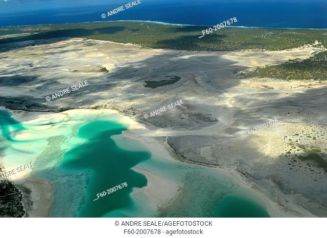 Aerial view of hypersaline lakes in Christmas Island (Kiritimati), Kiribati