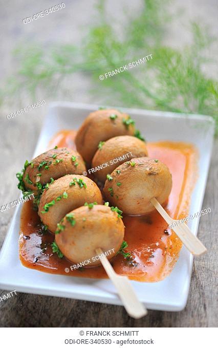 Greek mushroom kebabs