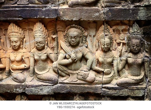 The Terrace of the Leper King - sculptures of the wall of temple, Angkor Temple Complex, Siem Reap Province, Cambodia