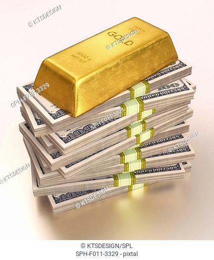 Gold bullion and US dollars, computer illustration