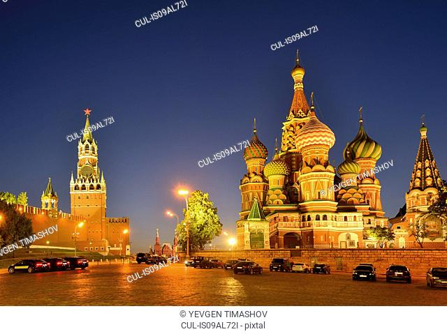 View of Red Square, Kremlin towers and Saint Basils Cathedral at night, Moscow, Russia