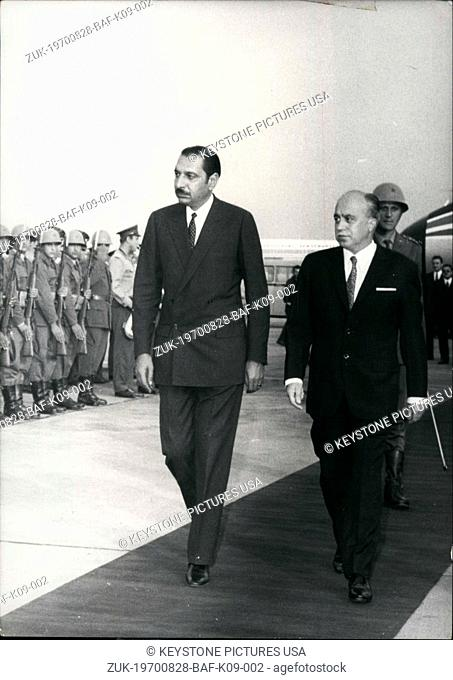 Aug. 28, 1970 - Afgan Premier Noor Ahmed Etamadi visits Yugoslavia: Afgan premier Noor Ahmed Etamadi arrived in Belgrade for a five day official visit to...