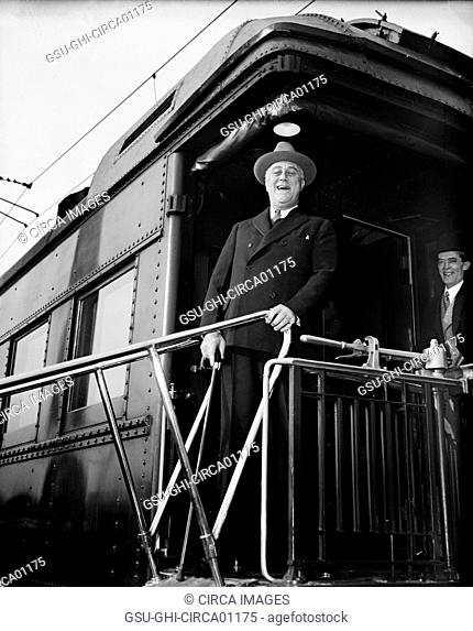 U.S. President Franklin Roosevelt Returning From Hyde Park, New York, via Train, Washington DC, USA, circa 1935
