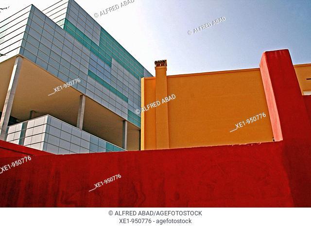 Modern and old buildings, Zona Franca, Barcelona, Catalonia, Spain