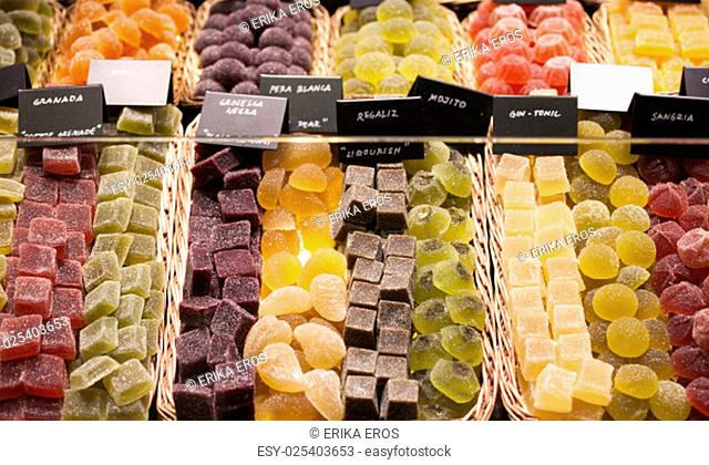 Various jelly candies exposed in the market