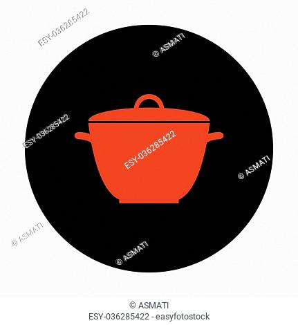 Saucepan simple Icon. Red vector icon on black flat circle