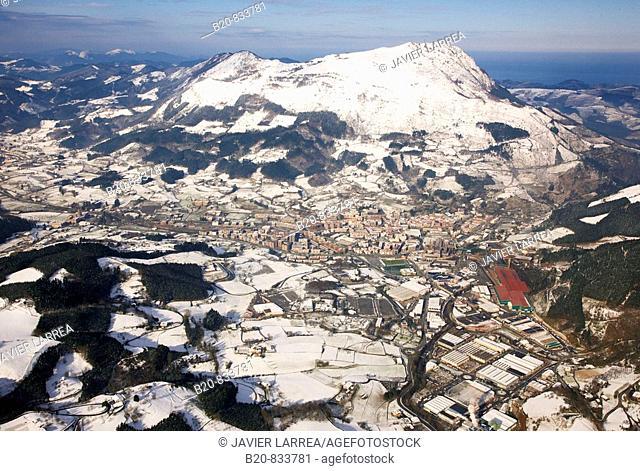 Snow on mount Ernio, Azpeitia. Guipuzcoa, Basque Country, Spain