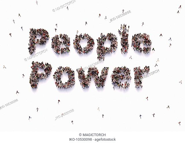 Overhead view of people forming words people power