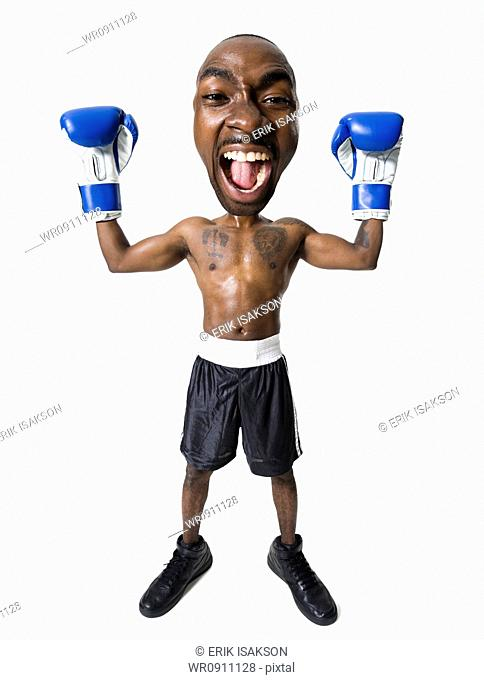 Caricature of boxer with gloves