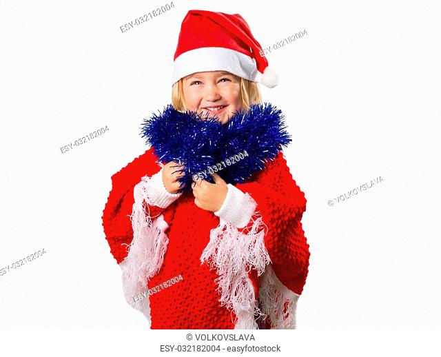 little girl in a hat Santa Claus isolated on white background