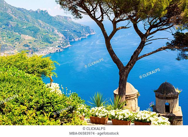 Ravello, Amalfi Coast, Sorrento, Italy, View of the coastline from Villa Rufolo