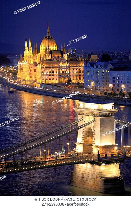 Hungary, Budapest, Parliament, Chain Bridge, Danube River