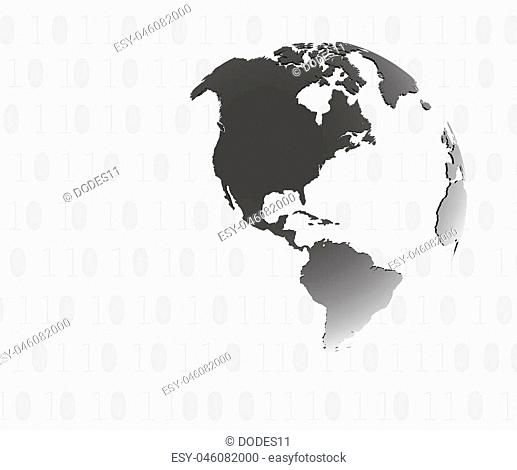 Technology koncept.Binary background . Vector Technology.Globe consisting of binary codes.Computer network