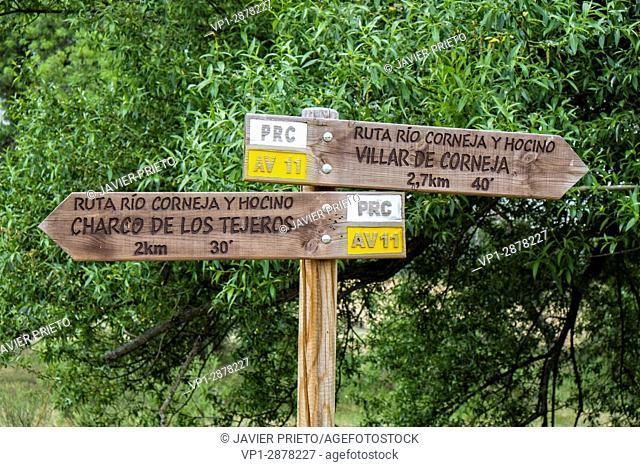 Riverbank vegetation and signposting on the path of the PRC-AV11 trail. River Corneja and Hocino. Valley of the Corneja. Avila. Castilla y León. Spain