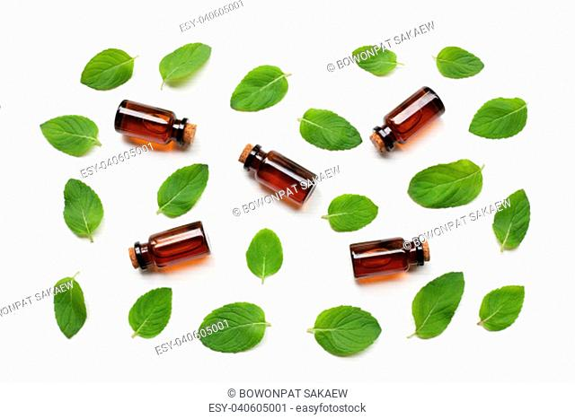 Mint Essential Oil in a Glass Bottle with leaves on white background