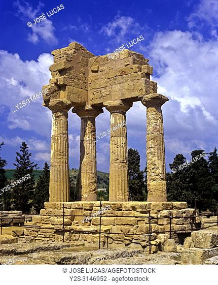 Greek temple of the Dioscuri (or Castor and Pollux) - 5th century BC. Valley of the temples. Agrigento. Sicily. Italy. Europe