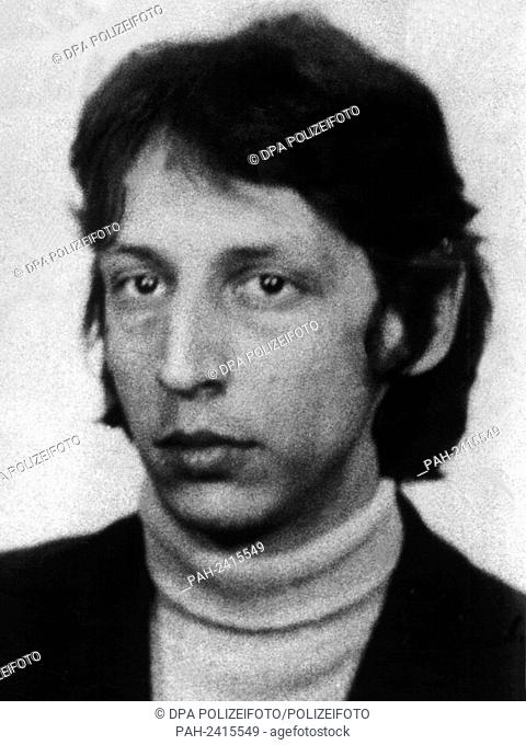 Undated police photo of terrorist Bernhard Roessner. German terrorists raided the German embassy on the 24th of April in 1975 and took twelve members of the...