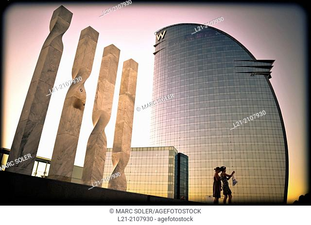 Hotel W, also known as Hotel Vela, by architect Ricard Bofill. Barcelona, Catalonia, Spain
