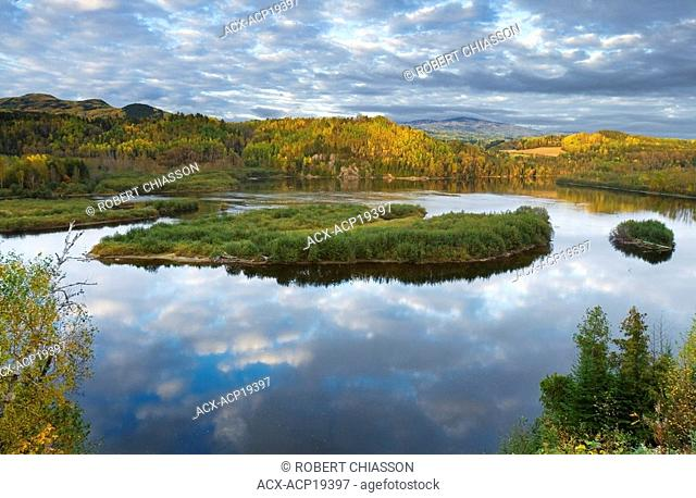 Area where the Malbaie River more than doubles in width and where many waterfowl gather, Clermont, Charlevoix, Quebec, Canada