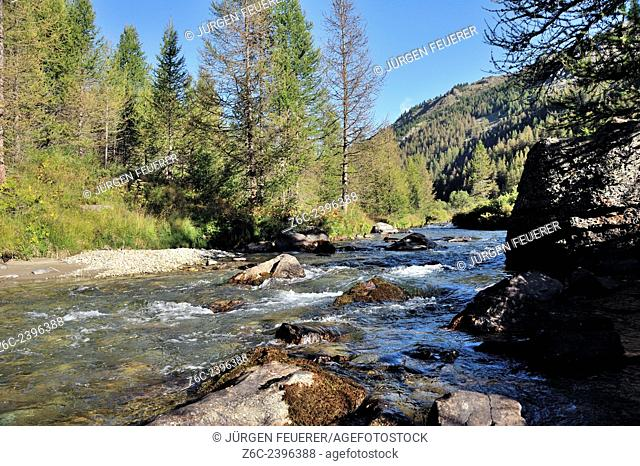 Riverscape in the valley of the Clarée, Brianconnais, Hautes-Alpes, French Alps, France