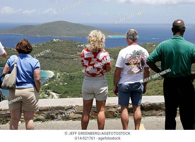 Megans Bay and Beach, Atlantic Ocean, overlook, tour group. Skyline Drive. North Side. St. Thomas. US Virgin Islands