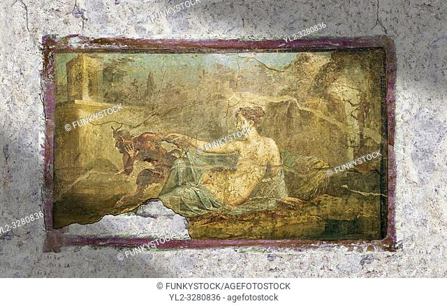 A Roman erotic fresco painting from Pompeii depicting Pan and Hermaphrodite, Naples National Archaeological, 50-79 AD , inv no 27700