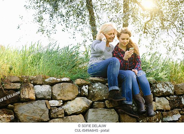 Mother and teenage daughter looking at smartphone on dry stone wall