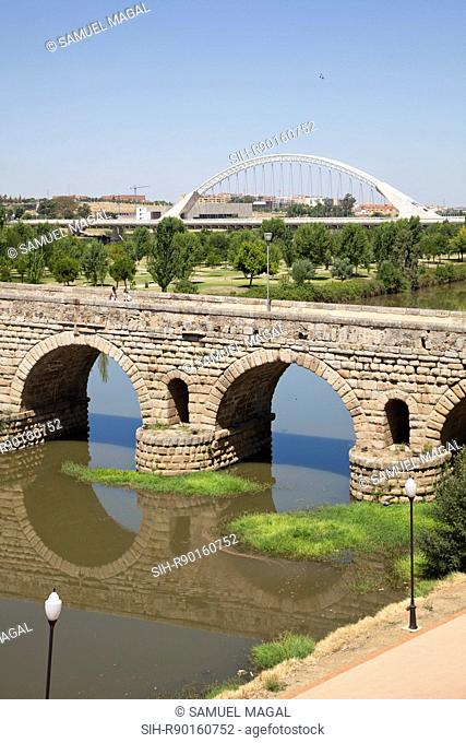 The bridge crosses the Guadiana River. Its construction was linked with the foundation of the Emerita Augusta colony later: Merida in 25 BC by Emperor Augustus