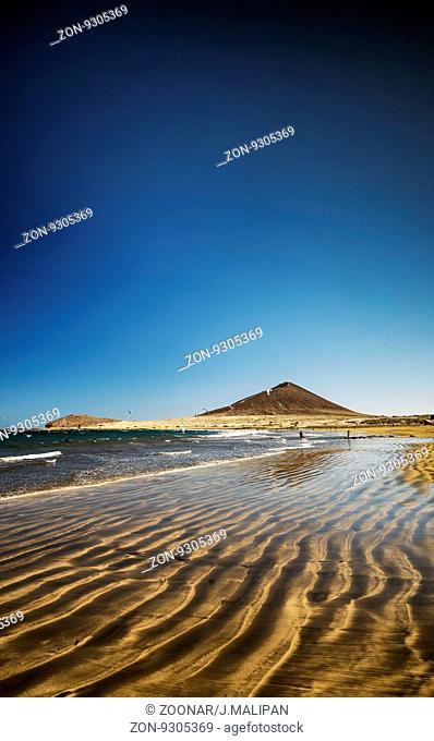 el medano beach and montana roja in south tenerife spain