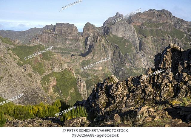 Madeira's central mountain range between the highest peaks Pico Arieiro und Pico Ruivo, Madeira, Portugal, Europe