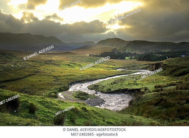 Maumturk Mountains in Connemara, Co Galway, Ireland