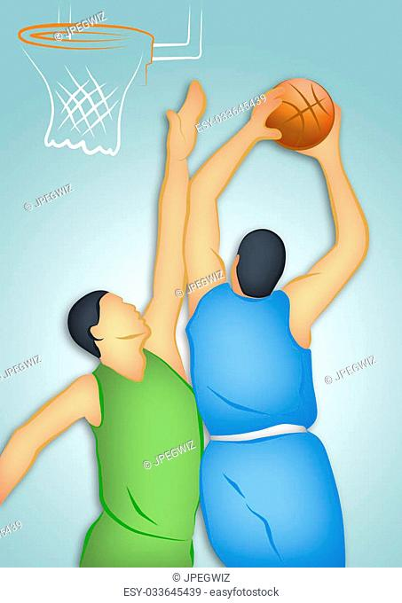 Line drawing of two basketball players