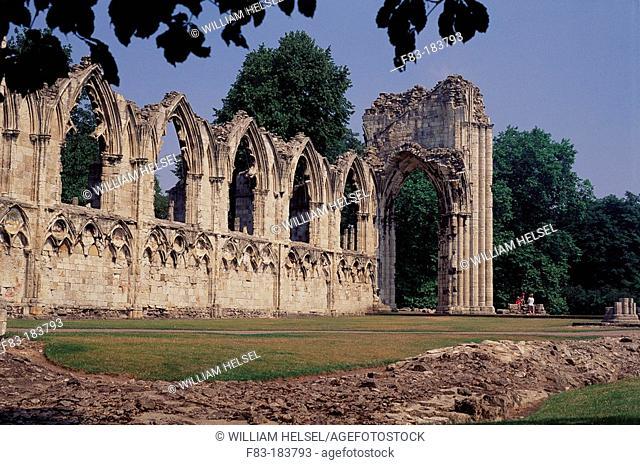 Ruins of Saint Mary's Abbey (c. 1210). York. England