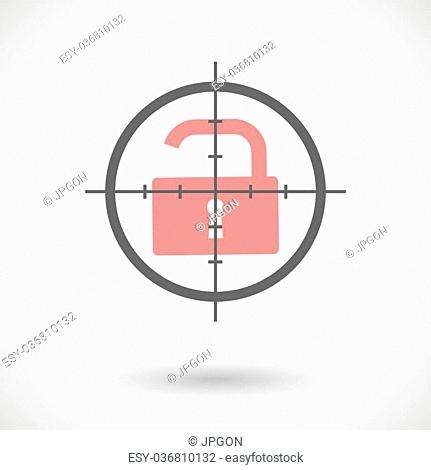 Illustration of a crosshair icon with a lock pad