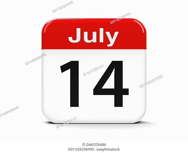 Calendar web button - The Fourteenth of July - The Bastille Day , three-dimensional rendering, 3D illustration
