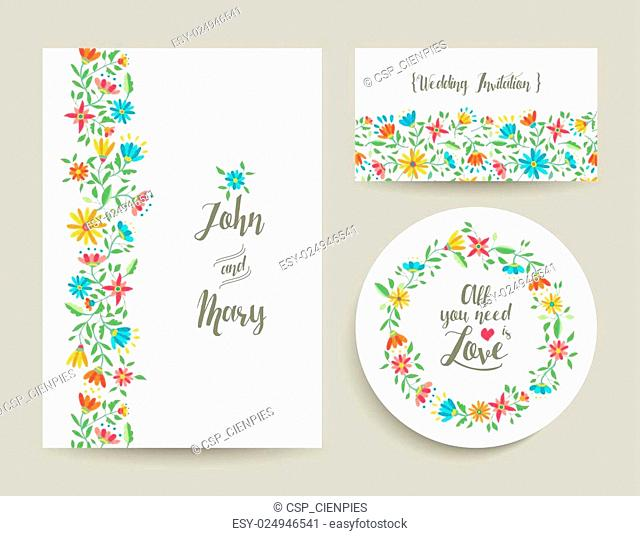 Flower wedding card invitation with nature design