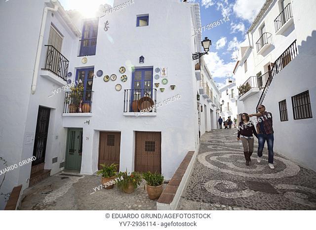 Street of Frigiliana. Frigiliana, Andalusia, Spain, Europe