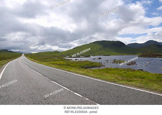 Empty road at Rannoch Moor, Strathclyde, Scotland, U.K