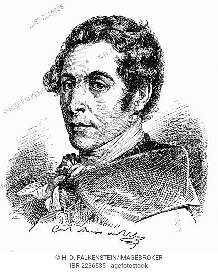 Historical drawing from the 19th Century, portrait of Carl Maria Friedrich Ernst von Weber, 1786-1826, German composer, conductor and pianist