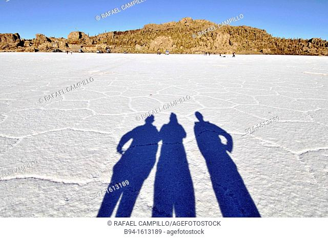Shadows. Salar de Uyuni the world's largest salt flat at 10,582 square kilometers. It is located in the Potosí and Oruro departments in southwest in the Potosí...