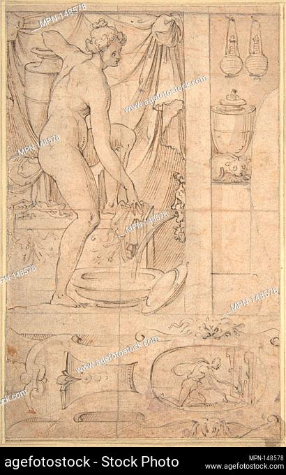 Venus Bathing. Artist: Anonymous, French, School of Fontainebleau, 16th century; Date: 16th century; Medium: Pen and black and brown inks with graphite...