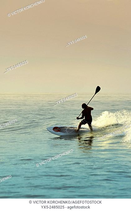 Paddleboarding on a beach near Puerto Vallarta, Mexico