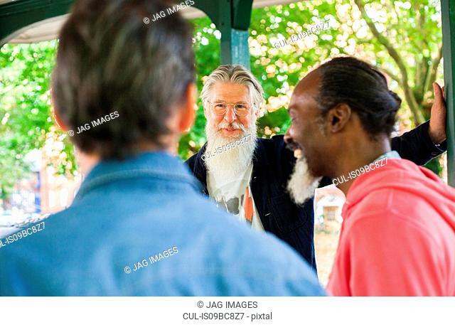 Three mature men, standing under bandstand, talking