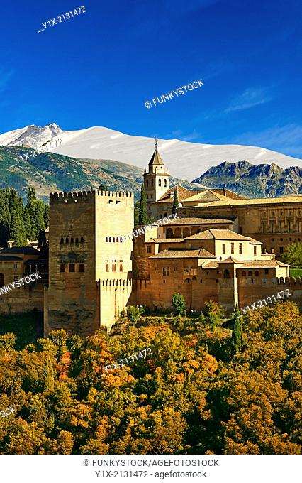 View of the Moorish Islmaic Alhambra Palace comples and fortifications. Granada, Andalusia, Spain