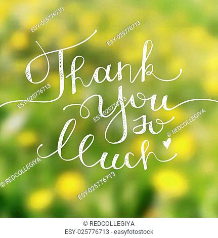 thank you so much, vector handwritten lettering on blurred background with dandelions